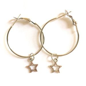 Simple silver hollow star hoops